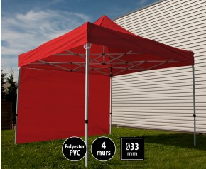 Tente pliante SEMI PRO métal 3x3m rouge avec murs HD