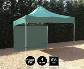 Tente pliante SEMI PRO métal 3x3m vert avec murs HD