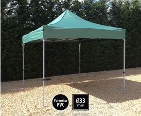 Tente pliante SEMI PRO métal 3x3m vert HD sans murs