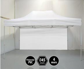 Tonnelle PRO aluminium 3x45m blanc pack murs HD