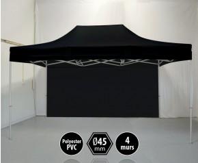 Tonnelle PRO aluminium 3x45m noir pack murs HD