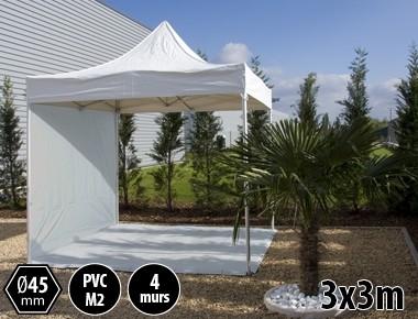 Tente pliante alu 3x3 blanc PRO+ 45 + 4 murs