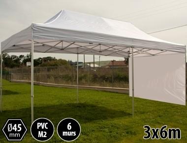 Tente pliante alu 3x6 blanc PRO+ 45 + 6 murs