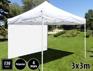 Tente pliante 3x3m loisirs couleur banche acier et polyester mini