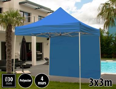 Tente pliante 3x3m loisirs couleur bleu acier et polyester mini