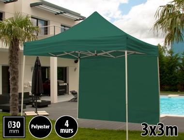 Tente pliante 3x3m loisirs couleur vert acier et polyester mini