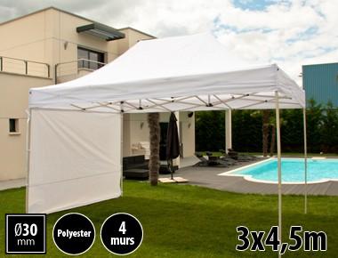Tente pliante 3x4,5m loisirs couleur blanc acier et polyester mini