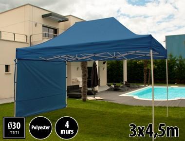 Tente pliante 3x4,5m loisirs couleur bleu acier et polyester mini