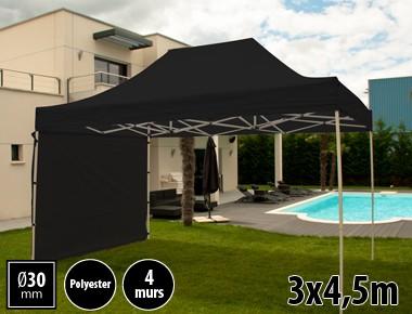 Tente pliante 3x4,5m loisirs couleur noir acier et polyester mini