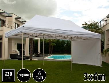 Tente pliante 3x6m loisirs couleur blanc acier et polyester mini