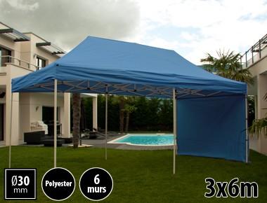 Tente pliante 3x6m loisirs couleur bleu acier et polyester mini