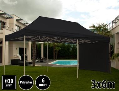 Tente pliante 3x6m loisirs couleur noir acier et polyester mini