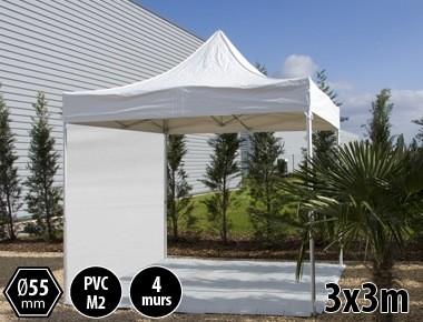 Tente pliante PRO+ 55 aluminium 3x3m blanc + 4 murs