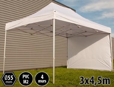 Tente pliante PRO+ 55 aluminium 3x4,5m blanc + 4 murs
