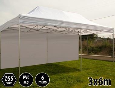 Tente pliante PRO+ 55 aluminium 3x6m blanc + 6 murs