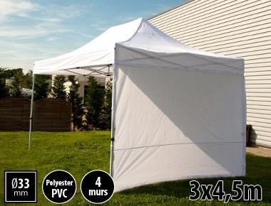 Tente semi-professionnelle 3x4,5m blanc avec pack 4 murs