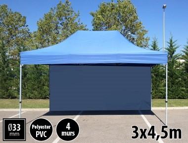 Tente semi-professionnelle 3x4,5m bleu avec pack 4 murs