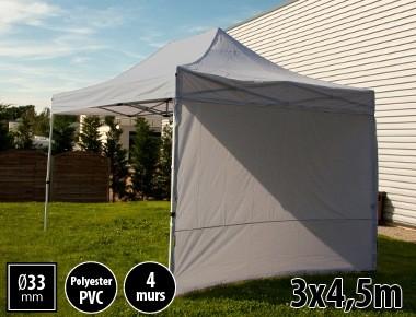 Tente semi-professionnelle 3x4,5m gris avec pack 4 murs