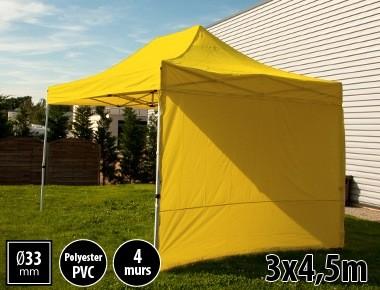 Tente semi-professionnelle 3x4,5m jaune avec pack 4 murs
