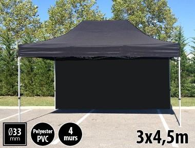 Tente semi-professionnelle 3x4,5m noir avec pack 4 murs