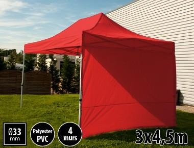 Tente semi-professionnelle 3x4,5m rouge avec pack 4 murs