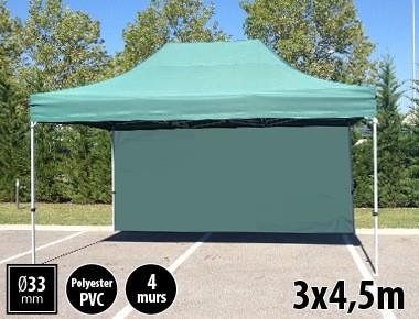 Tente semi-professionnelle 3x4,5m vert avec pack 4 murs