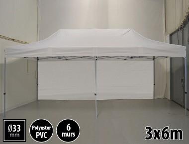 Tente pliante gamme SEMI PRO 3x6m blanc avec pack 6 murs