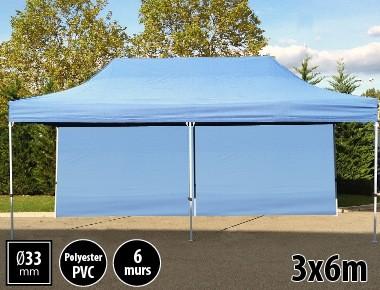 Tente pliante gamme SEMI PRO 3x6m bleu avec pack 6 murs