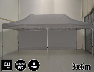 Tente pliante gamme SEMI PRO 3x6m gris avec pack 6 murs