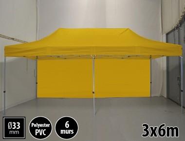 Tente pliante gamme SEMI PRO 3x6m jaune avec pack 6 murs