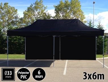 Tente pliante gamme SEMI PRO 3x6m noir avec pack 6 murs