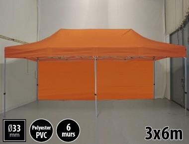 Tente pliante gamme SEMI PRO 3x6m orange avec pack 6 murs
