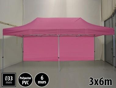 Tente pliante gamme SEMI PRO 3x6m rose avec pack 6 murs