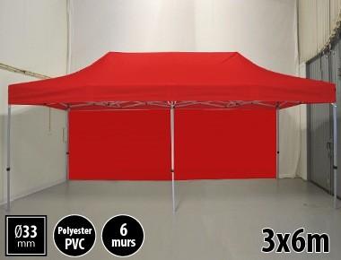Tente pliante gamme SEMI PRO 3x6m rouge avec pack 6 murs