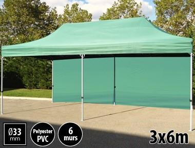Tente pliante gamme SEMI PRO 3x6m vert avec pack 6 murs