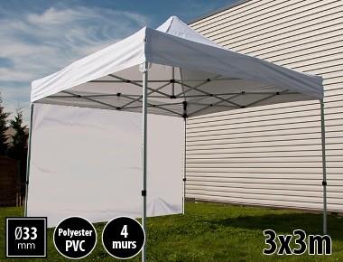Tente pliante SEMI PRO métal 3x3m blanc avec murs