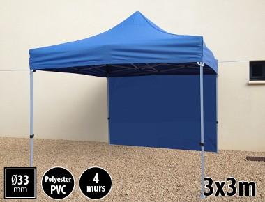Tente pliante SEMI PRO métal 3x3m bleu avec murs