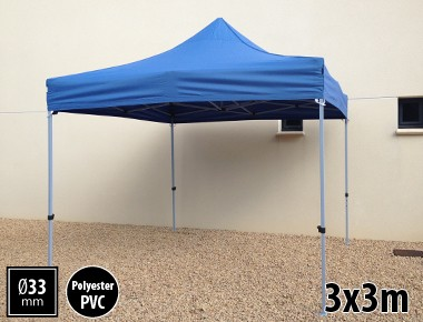 Tente pliante SEMI PRO métal 3x3m bleu