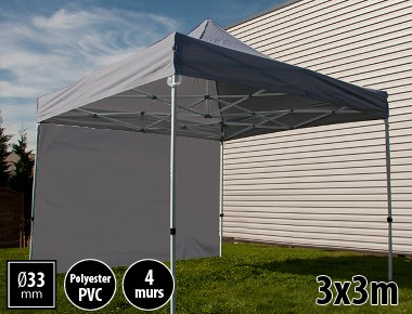 Tente pliante SEMI PRO métal 3x3m gris avec murs