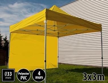 Tente pliante SEMI PRO métal 3x3m jaune avec murs