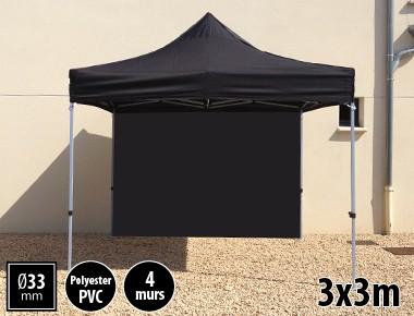Tente pliante SEMI PRO métal 3x3m noir avec murs