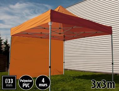 Tente pliante SEMI PRO métal 3x3m orange avec murs