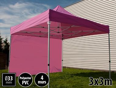Tente pliante SEMI PRO métal 3x3m rose avec murs
