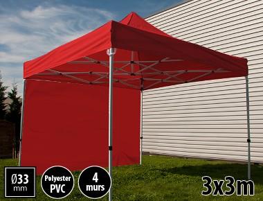 Tente pliante SEMI PRO métal 3x3m rouge avec murs