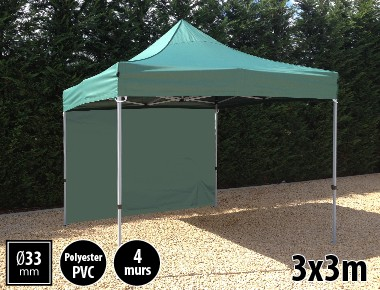 Tente pliante SEMI PRO métal 3x3m vert avec murs