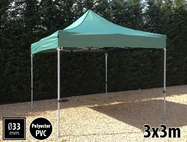 Tente pliante SEMI PRO métal 3x3m vert