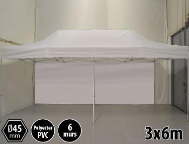 Tente pliante PRO aluminium 3x6m blanc + 6 murs