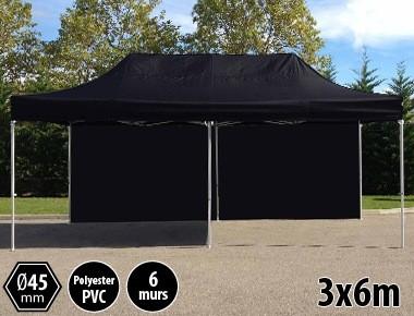 Tente pliante PRO aluminium 3x6m noir + 6 murs
