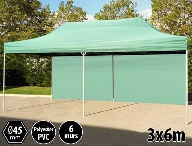 Tente pliante PRO aluminium 3x6m vert + 6 murs