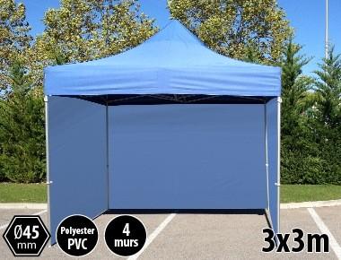 Tonnelle pliante PRO aluminium 3x3m bleu + 4 murs